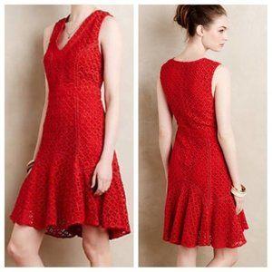 Anthropologie San & Soni Crochet Flounce Dress 0